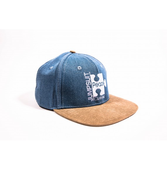 SNAPBACK DENIM BROWN SUEDE