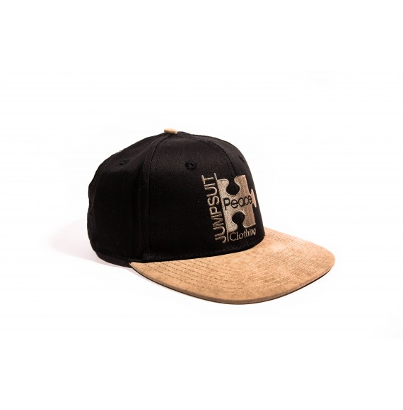 SNAPBACK BLACK BROWN SUEDE
